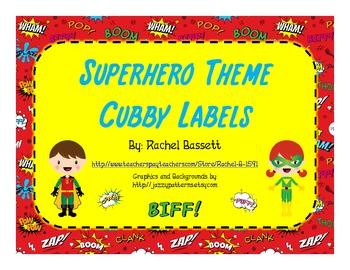 Superhero Theme Cubby Labels