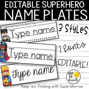 Superhero Theme Name Plates Editable! - Superhero Theme Cl