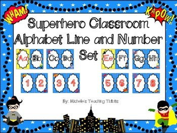 Superhero Themed Alphabet and Number Line