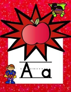 Superhero-Themed Alphabet with Bursts