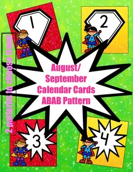 Superhero-Themed August/ September Calendar Cards