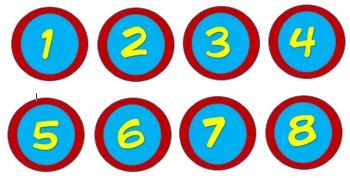 Superhero Themed Circular Numbers 1-30