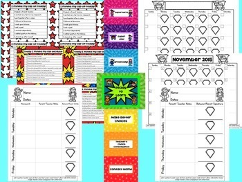 Superhero-Themed Clip Chart and Behavior Communication Calendar