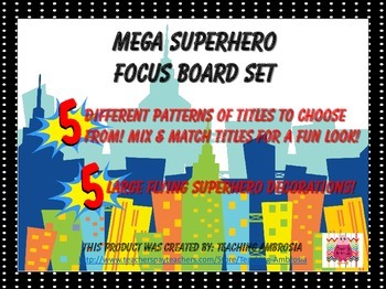 Superhero Themed Focus Board or CBC  Board Titles