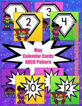 Superhero-Themed May Calendar Cards