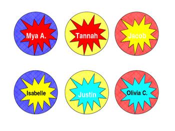 Superhero Themed Nametags *Editable*