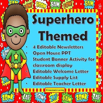 Superhero Themed Back To School Teacher Resources & 3 Stud