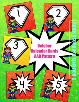 Superhero-Themed October Calendar Cards