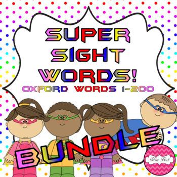 Superhero Themed Oxford Sight Word Game BUNDLE (Words 1-200)