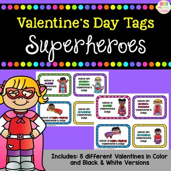 Superhero Themed Valentines - Gift Tags