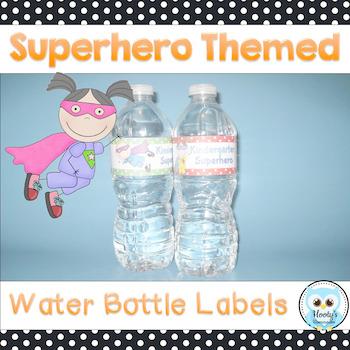 Superhero Themed Water Bottle Labels