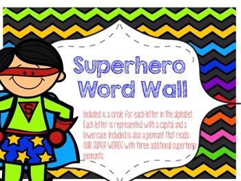 Superhero Themed Word Wall Display