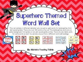 Superhero Themed Word Wall Set