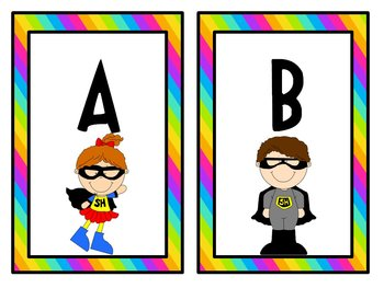 Superhero Word Wall Labels