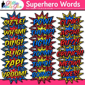 Superhero Words Clip Art {Teach Onomatopoeia Using Speech