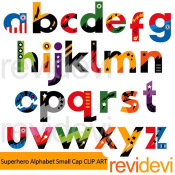Superhero alphabet small caps clip art
