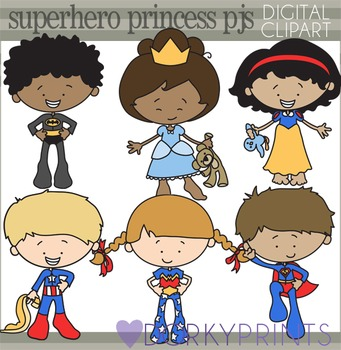 Superhero and Princess Pajamas Clipart