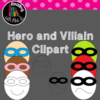 Superhero and Villain face clipart