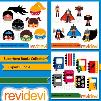 Superhero books collection clip art bundle (3 packs)