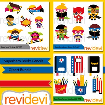 Superhero books pencils clipart bundle (3 packs)