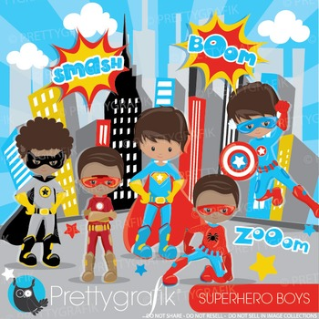 Superhero boys clipart commercial use, graphics, digital c