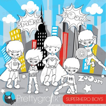 Superhero boys stamps commercial use, vector graphics, ima