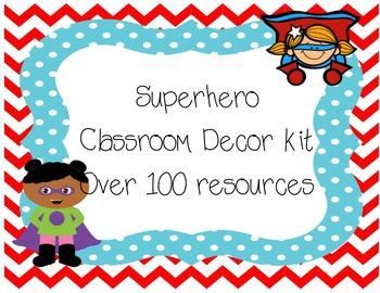 Superhero classroom decor kit ( hall pass freebie)
