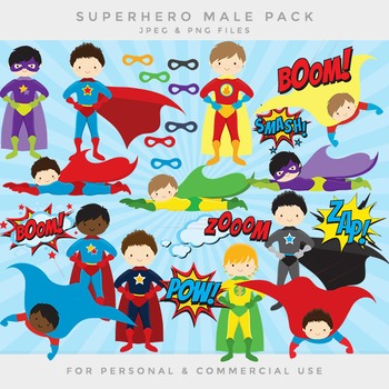 Superhero clip art - comic book clip art male super heroes