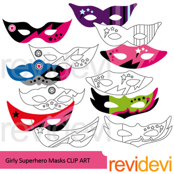 Superhero clipart: Girly superhero masks clip art