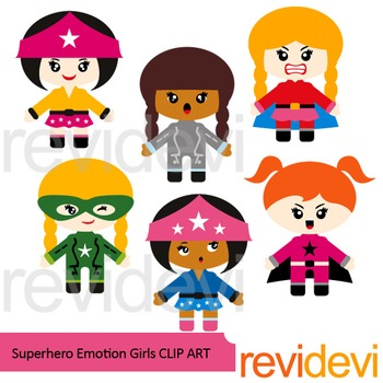 Superhero clipart - Superhero emotion girls