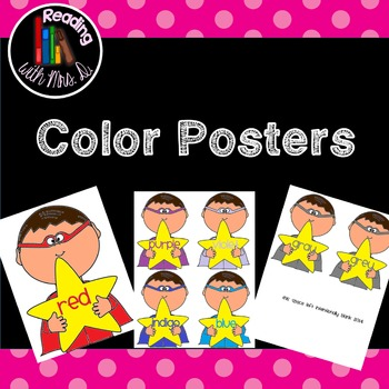 Superhero colour color posters and flashcards
