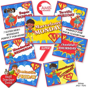 Superhero Clipart, days of the week posters, digital clipa