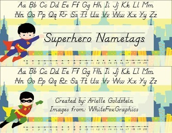 Superhero desk tags- Nametags