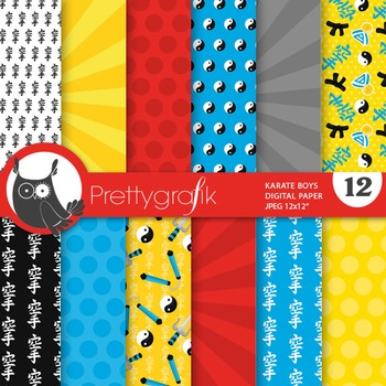 Karate digital paper, commercial use, scrapbook papers - PS732