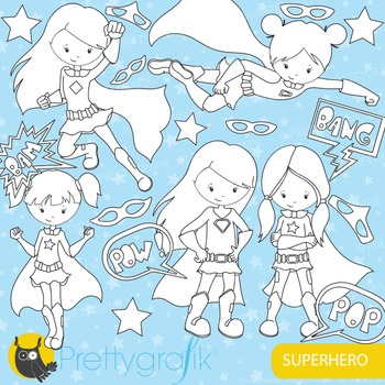Superhero girl stamps commercial use, vector graphics, ima