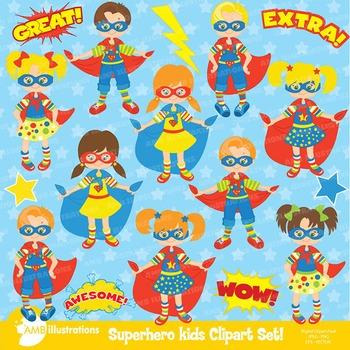 Superhero Kids Clipart pack, Clip art, Digital download, AMB-113