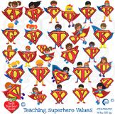 Superhero letters Clipart, superhero alphabets and values!