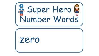 Superhero number Word Cards