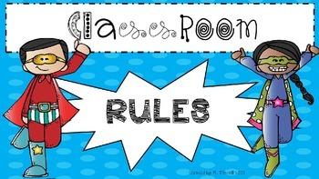 Superhero theme (WBT) classroom rules posters