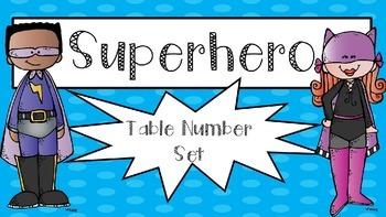 Superhero themed table number set