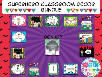 Superheroes Classroom Decor Bundle