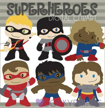 Superheroes Digital Clip Art