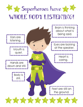 Superheroes Have Whole Body Listening Poster