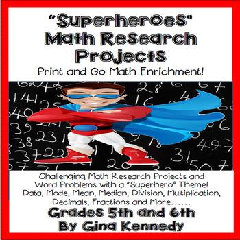 """""""Superheroes"""" Math Enrichment Problems, Mode, Mean, Measur"""