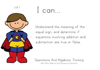 Superheroes Theme 1st grade math Common Core Posters first