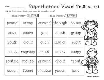 """Superheroes: -ou Vowel Teams Practice (/ow/ like """"ouch"""" an"""