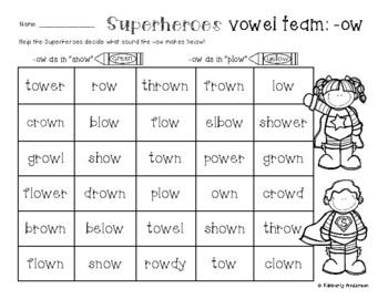 "Superheroes: -ow Vowel Teams Practice (-ow like ""plow"" and"