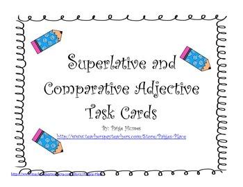 Superlative and Comparative Adjective Task Cards