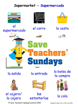 Supermarket in Spanish Worksheets, Games, Activities and F