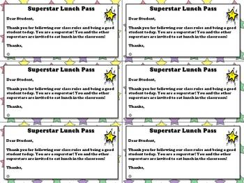 Superstar Lunch Pass Alert - Student Incentive and Positiv